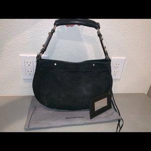 Authentic Balenciaga black suede baguette mini bag